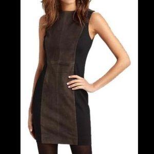 Rag & Bone Olive Green Suede Paneled Pencil Dress